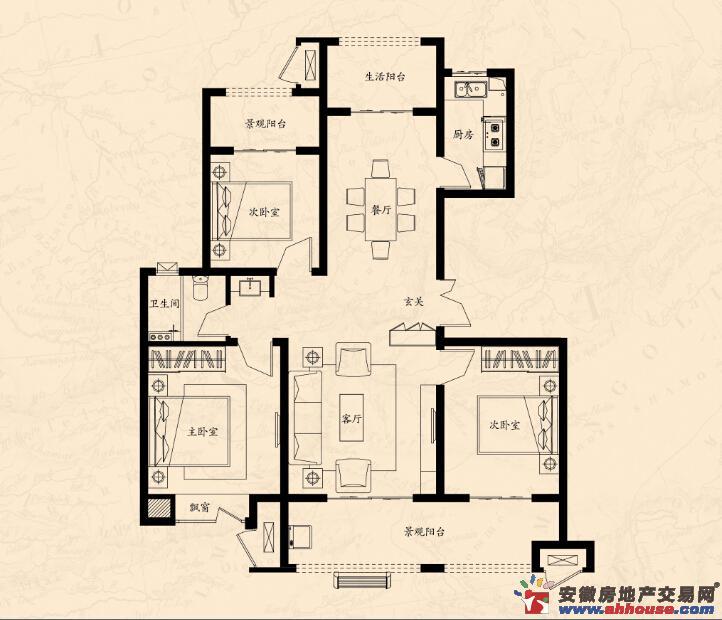 海亮江湾城_3室2厅1卫厨