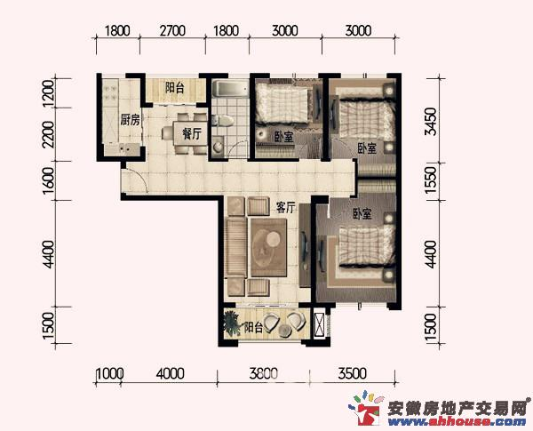 东方龙城_3室2厅1卫1厨
