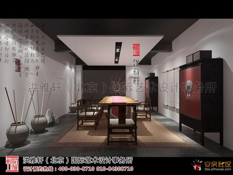 简约中式风格禅茶室设计 古雅 幽静,富有禅意风韵 淮北业主社区 -高清图片