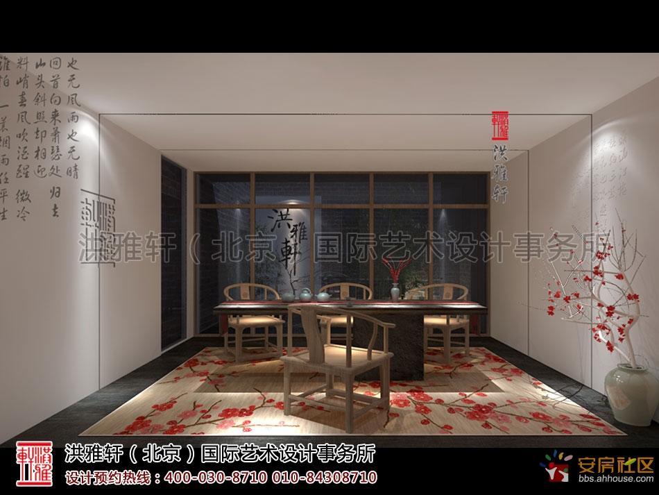 简单的手绘茶楼中式装修效果图,明确的诠释了设计师对禅茶室设计的高清图片