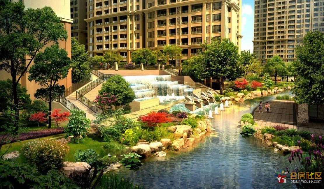 一溪一谷五园园林风情由香港贝尔高林景观大师打造,尽览下沉式庭院图片