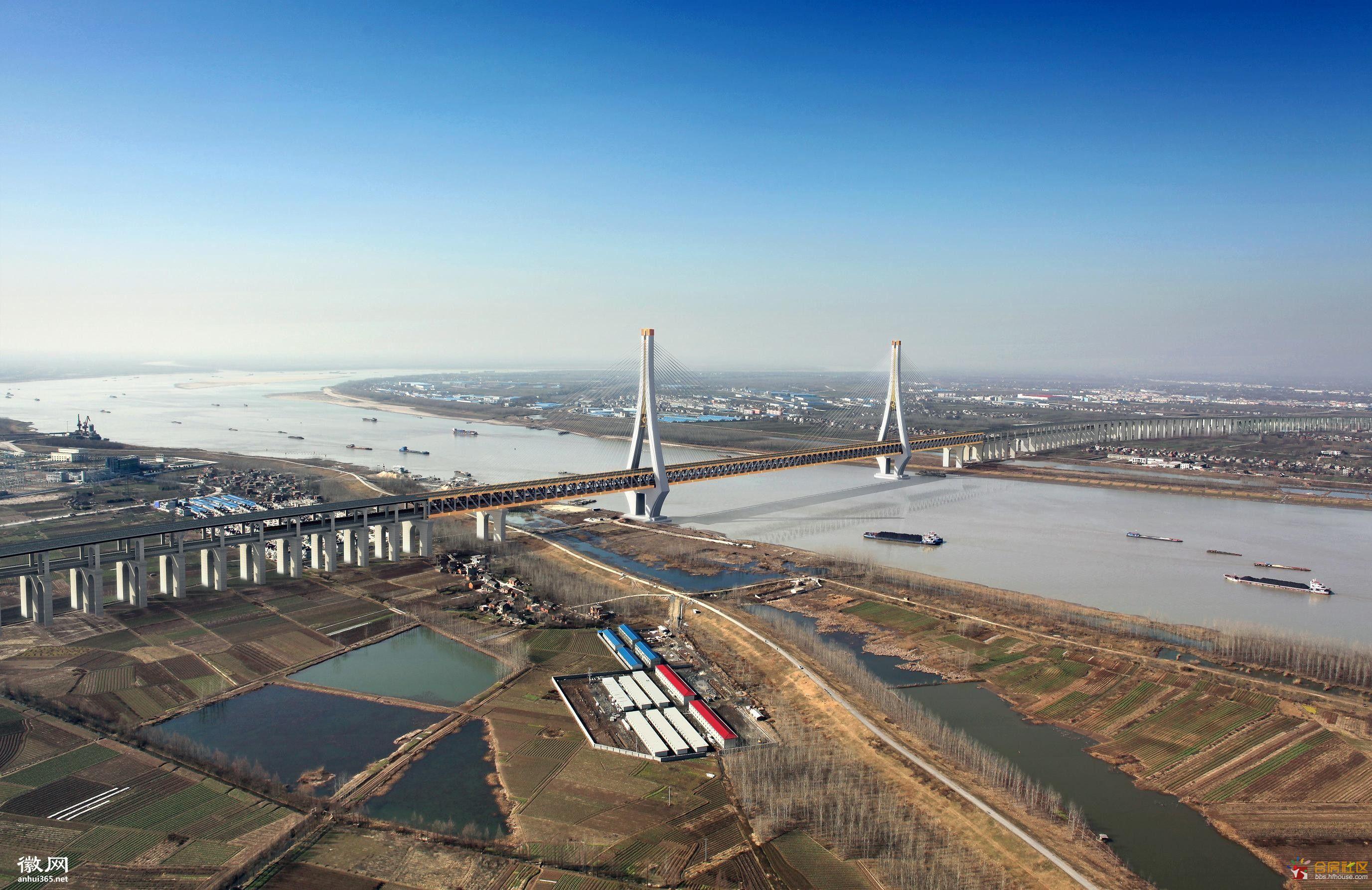 安徽合福高铁动车图俯瞰图-转 合福高铁铜陵长江公铁大桥 太震撼了