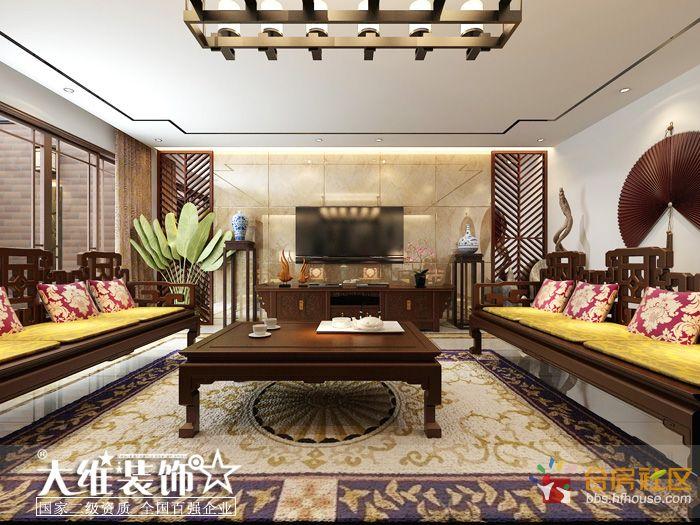 负一楼客厅正面效果图-安徽大维装饰集团再次承接半岛一号别墅项目高清图片
