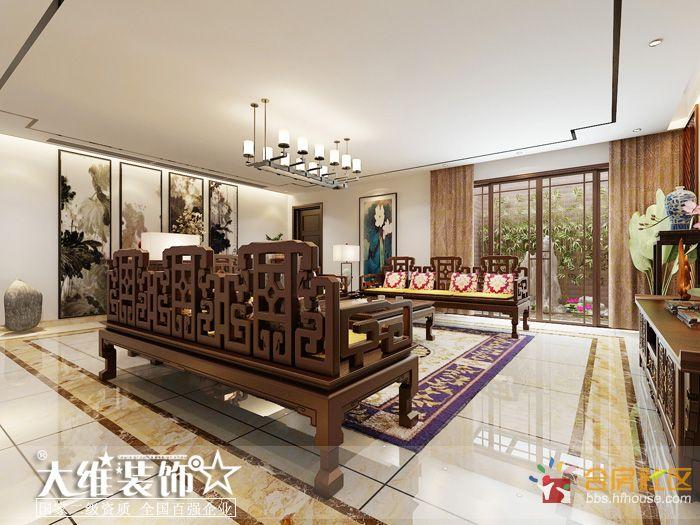 负一楼客厅侧面效果图-安徽大维装饰集团再次承接半岛一号别墅项目高清图片