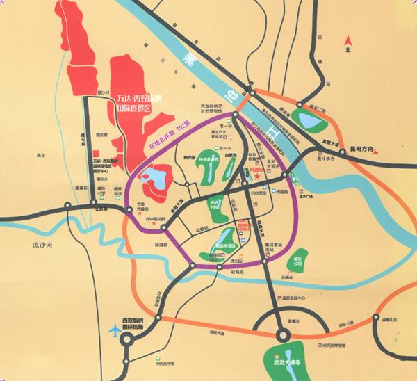 万达西双版纳交通图