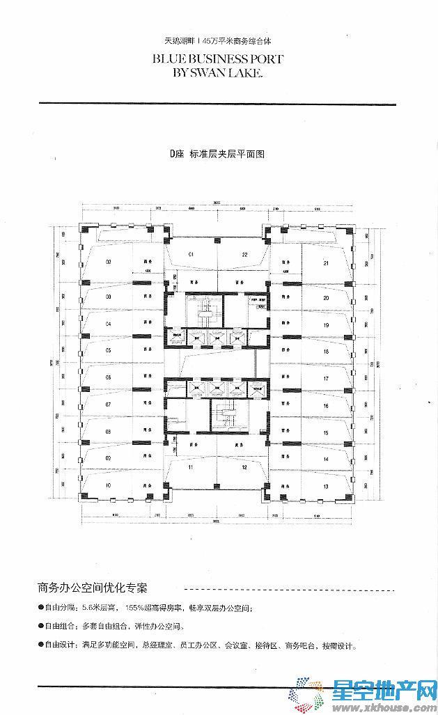 蔚蓝商务港 D座标准层夹层平面图