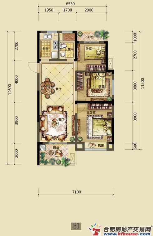 禹洲中央城三室二厅一卫