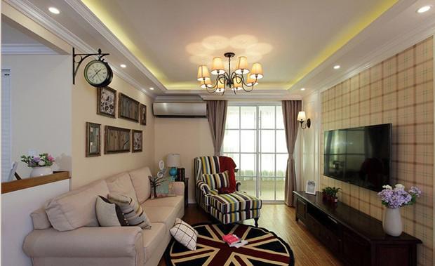 90平三居室装修效果图 自然纯粹的简约美式风 高清图片