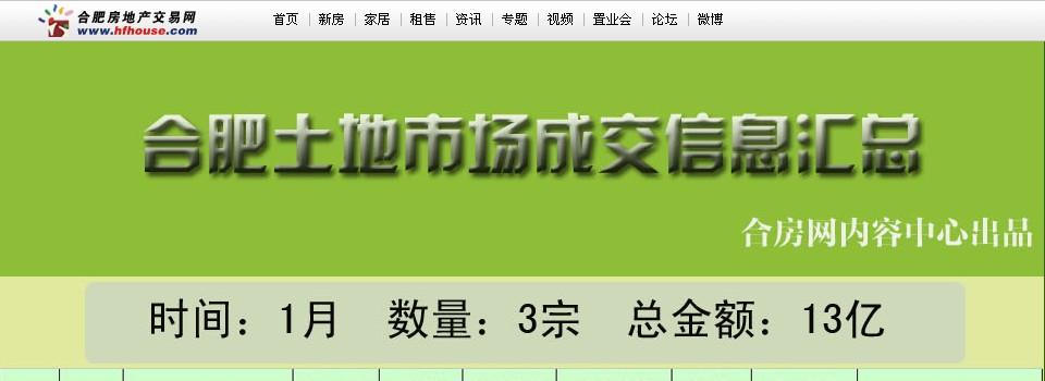 合肥土地市场前8月共成交294亿