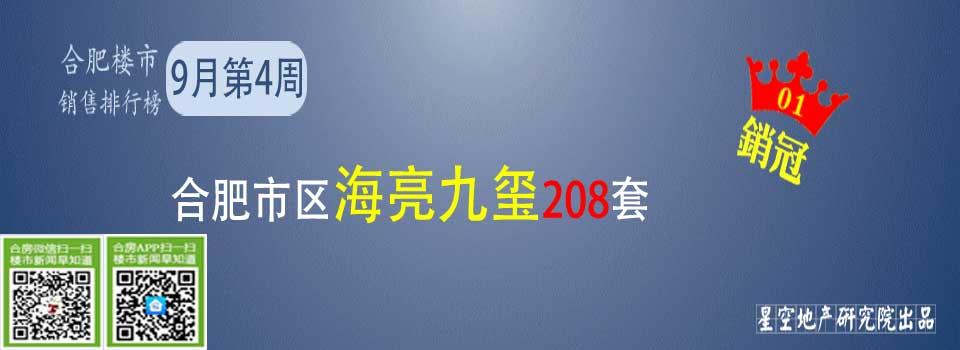 9月第4周合肥九区排行榜海亮九玺208套夺冠