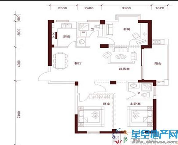 金顺锦绣时代三室二厅二卫