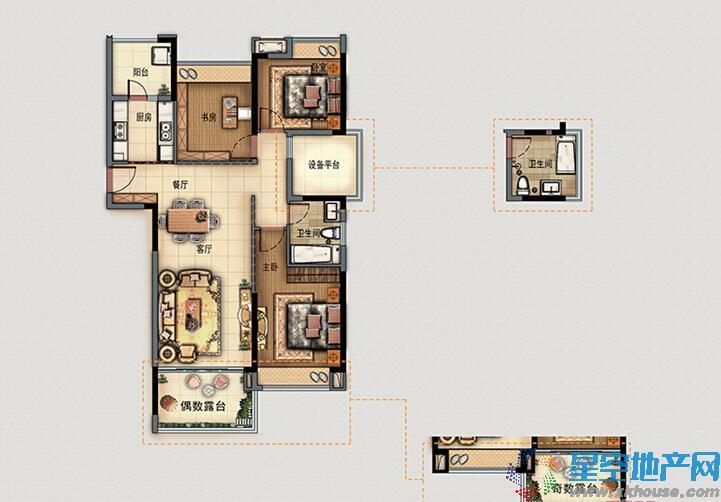 富春硅谷·麓园三室二厅一卫