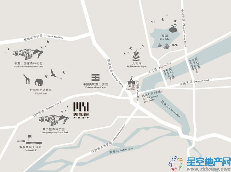 天鸿·美和院交通图