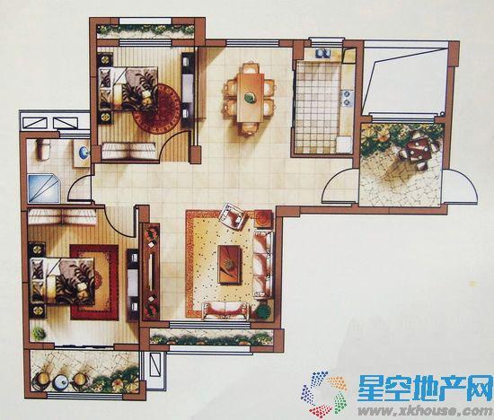 中体奥林匹克花园二室二厅一卫
