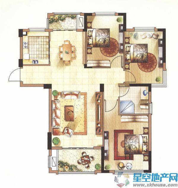 中体奥林匹克花园_3室2厅1卫1厨