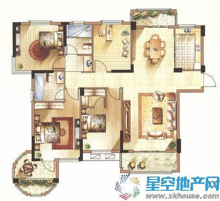中体奥林匹克花园_4室2厅2卫1厨