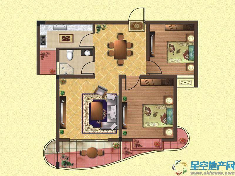 华宇尚城二室二厅一卫