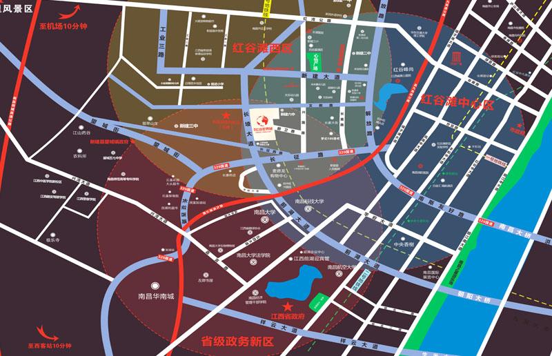 融创红谷世界城交通图