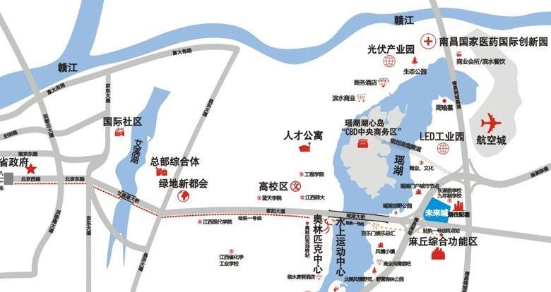 绿地江西金融产业园交通图