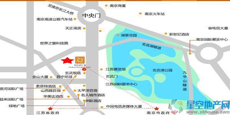 玄武湖金茂广场交通图