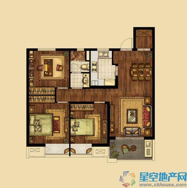 海峡城_3室2厅1卫1厨