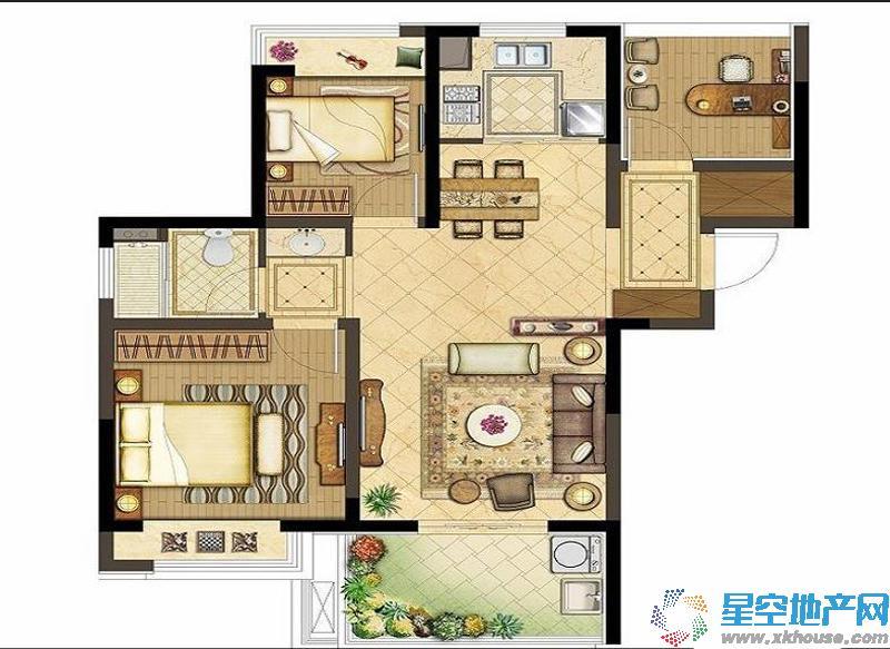 朗诗未来街区三室二厅一卫