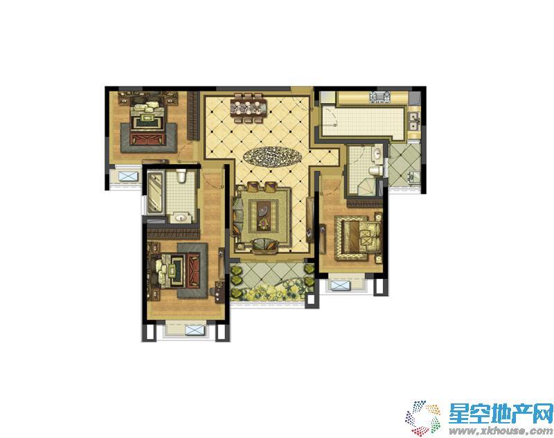 雅居乐滨江国际三室二厅二卫