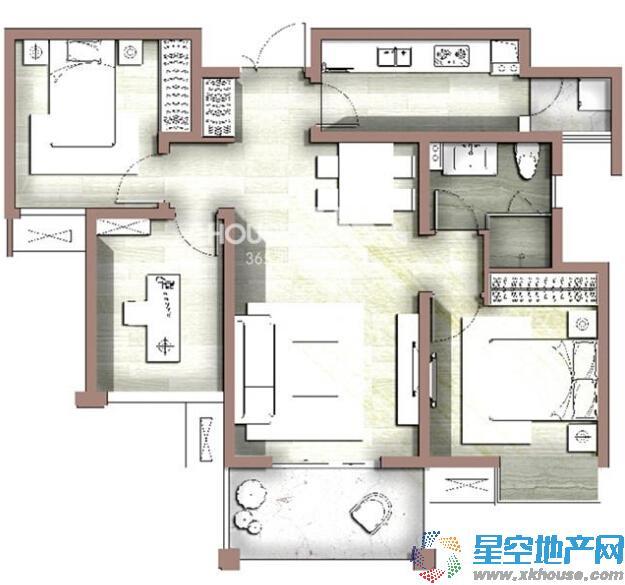 富力尚悦居_3室2厅1卫1厨