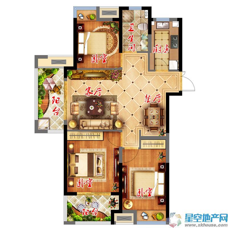 中国铁建青秀城三室二厅一卫