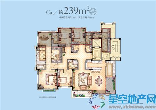 可改造空间约75平米,实享空间约314平米