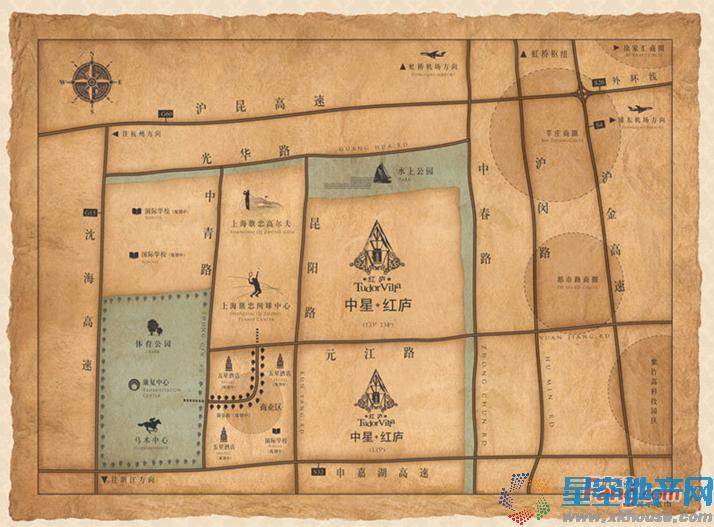 中星红庐交通图
