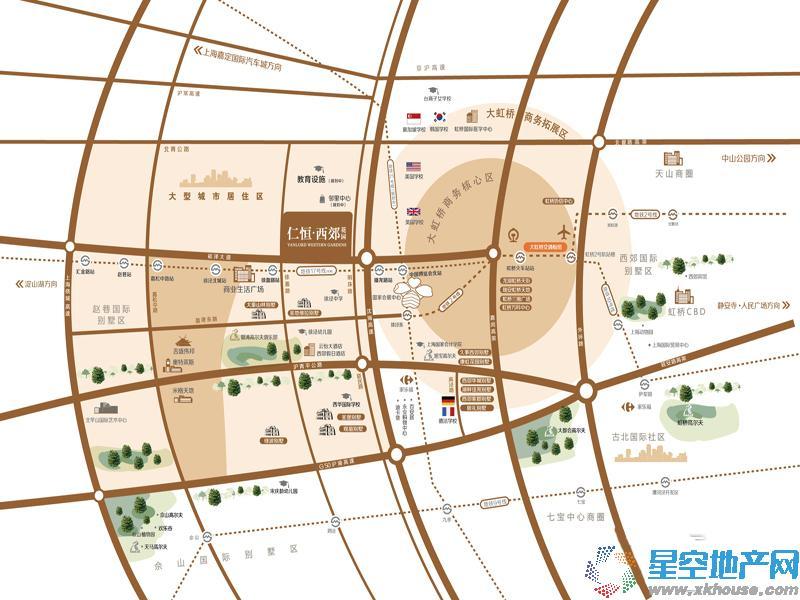 仁恒西郊花园交通图
