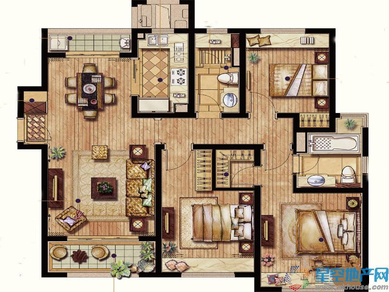保利翡丽公馆三室二厅二卫
