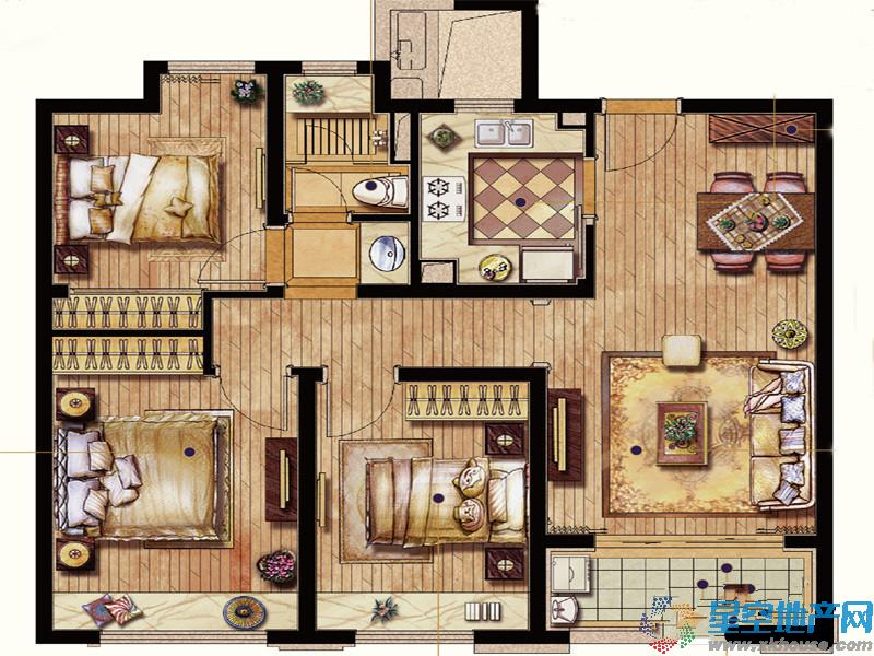 保利翡丽公馆三室二厅一卫