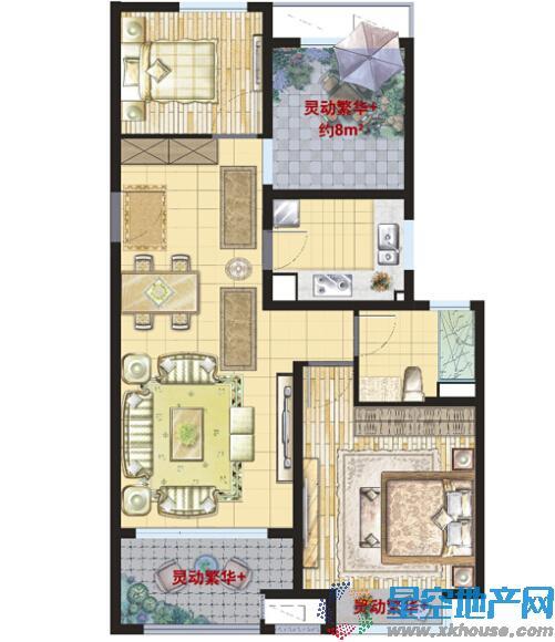 绿地21城繁华里三室一厅一卫