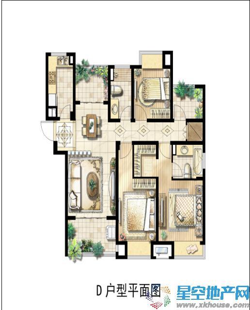 绿地中央广场三室二厅二卫