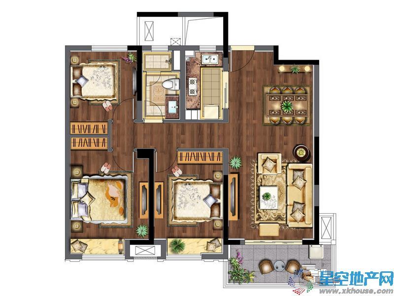 万科玲珑东区三室二厅一卫