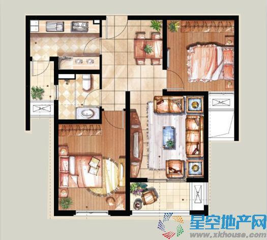 建屋海德公园二室二厅一卫