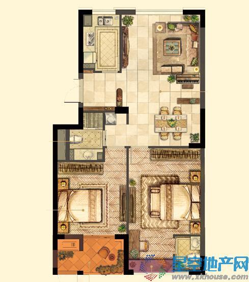 世贸公馆二室二厅一卫