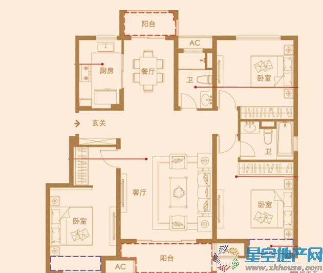 中海凤凰熙岸三室二厅二卫