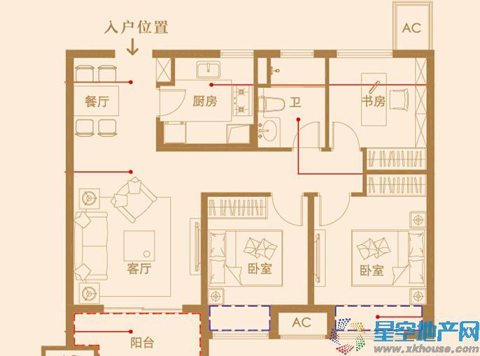 中海凤凰熙岸三室二厅一卫