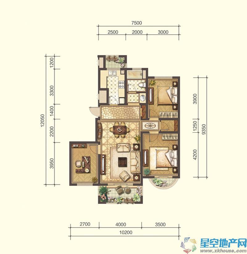 远洋香奈河畔三室二厅一卫
